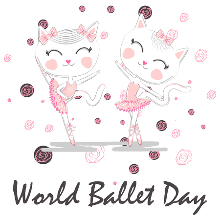 World Ballet Day, October. A pair of cute white ballerina cats in pink ballet tutu and pointe