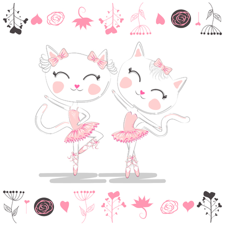 Love ballet. A pair of cute white ballerina cats in pink ballet tutu and pointe