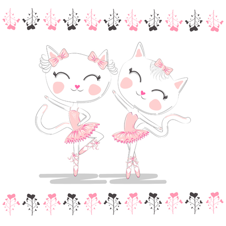 Cute ballerina cats dancing ballet in pink tutu