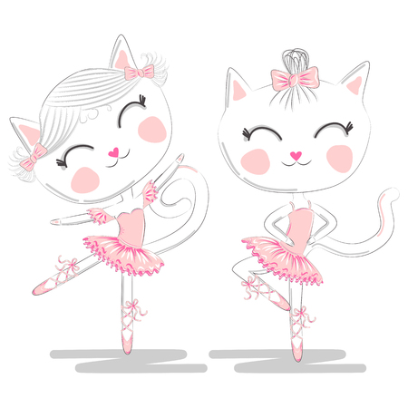 A pair of cute white ballerina cats in pink ballet tutu and pointe