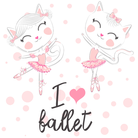 I love ballet. A pair of cute white ballerina cats in pink ballet tutu and pointe