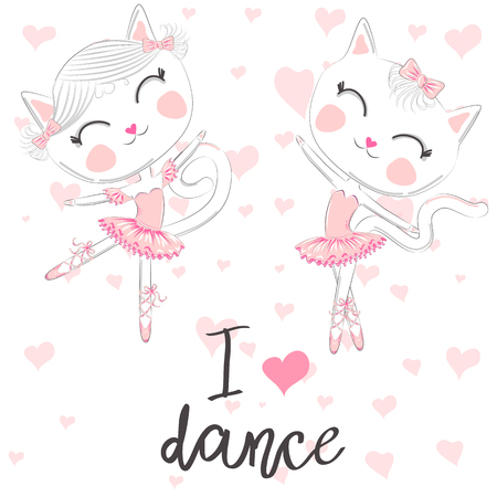 T shirt design. Modern fashion style on white background with heart. I love to dance. A pair of cute white ballerina cats in pink ballet tutu and pointe