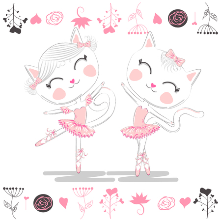 Love ballet. A pair of cute white ballerina cats in pink ballet tutu and pointe Archivio Fotografico - 121584771