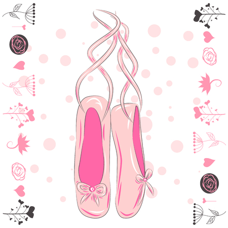 Illustration of a pair of well-worn ballet pointes shoes Çizim