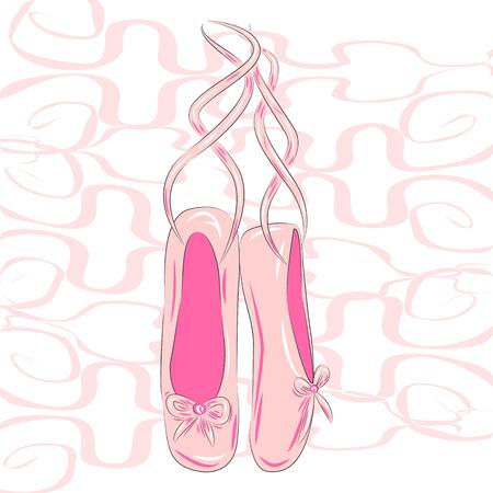 A set of ballet pointes shoes. Ballet shoes.