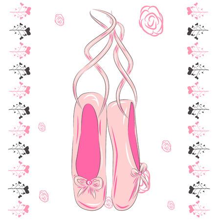 Hanging pink ballet shoes illustration made in outline style.