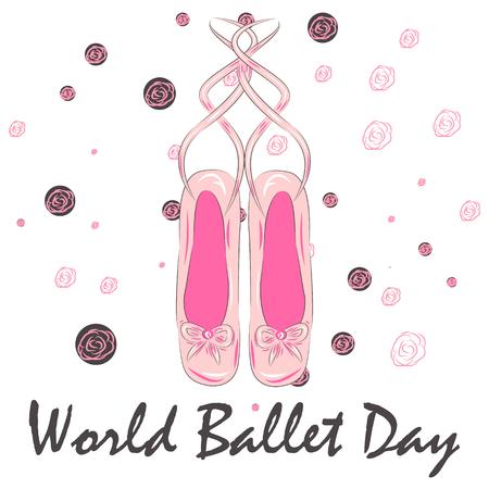 World Ballet Day, October. ballet dance conceptual illustration, A set of ballet pointes shoes. Ballet shoes.