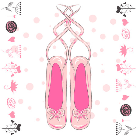 Illustration of a pair of well-worn ballet pointes shoes Illustration