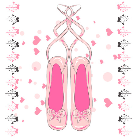 T shirt design. Sketch silhouette hand drawn pointes shoes, bow in pink colors.