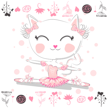 Hand drawn beautiful, lovely, little ballerina cat. Archivio Fotografico - 121584953