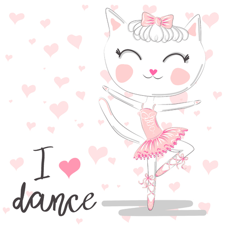 T shirt design. Modern fashion style on white background with heart, original text I love dance. Cute ballerina cat dancing ballet in pink tutu.