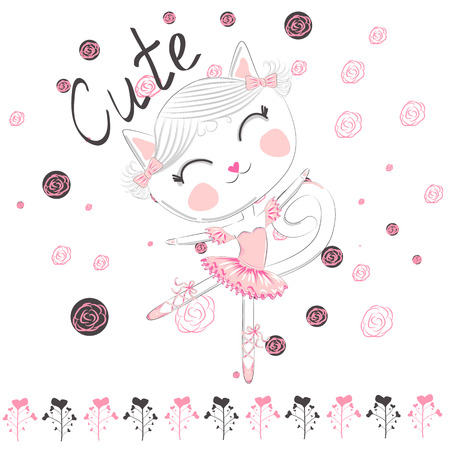 Cute ballerina cat dancing ballet in pink tutu Vectores