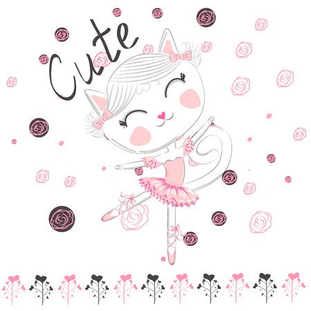 Cute ballerina cat dancing ballet in pink tutu Illustration