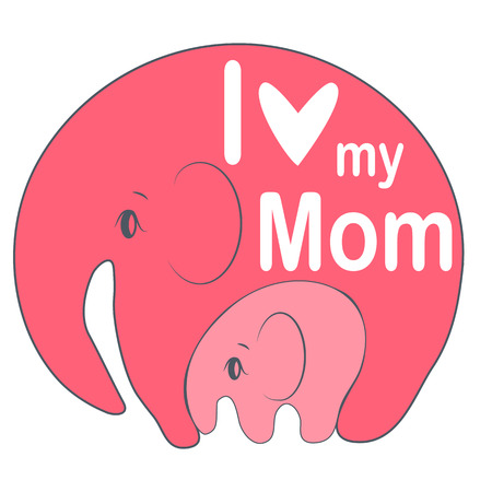 Cute funny baby elephant and mother. greeting card. Mother's Day holiday concept. Ilustração