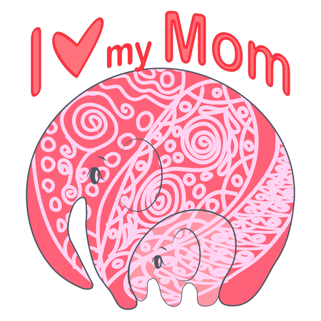 Cute funny baby elephant and mother. greeting card. Mother's Day holiday concept. Vectores