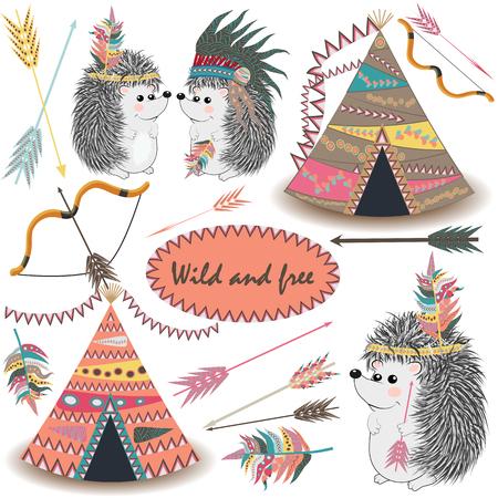 Conjunto de colecciones tribales con decenas de tipis, flechas, plumas, bordes tribales, erizo indio y tocado de plumas.