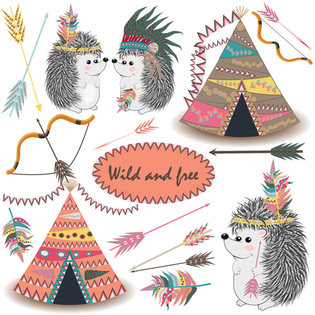 Tribal Collections Set with teepee tens, arrows, feathers, tribal borders, Indian hedgehog and feather headdress.