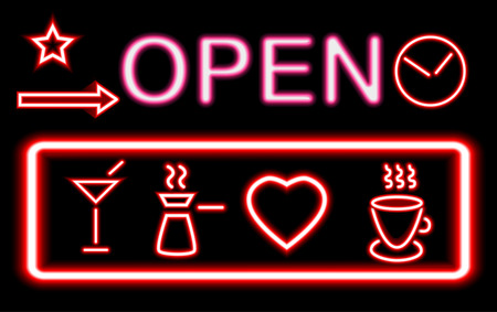 Colorful glowing neon lights graphic designs for cafe and bar signs on black background.