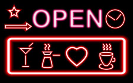 Diseños gráficos de luces de neón que brillan intensamente de colores para letreros de cafés y bares sobre fondo negro.
