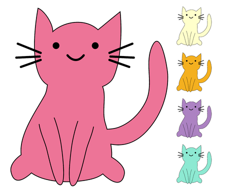 Set of cute cats in simple design for kid's greeting card design, t-shirt print, inspiration poster 일러스트