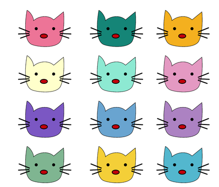 Cats, set of cute doodle. Sketch character handmade to Print T-shirts. Kids animals. Funny stylish muzzle isolated Pets Vektoros illusztráció