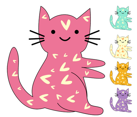 Set of cute cats in simple design for kid's greeting card design, t-shirt print, inspiration poster