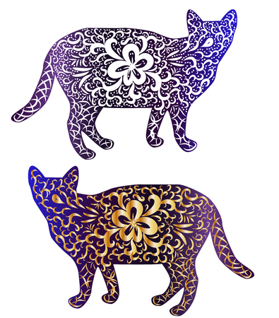 Elegant cat, silhouette, hand-painted in Indian style, print, design. The concept of grace, beauty of a cat, a unique pattern