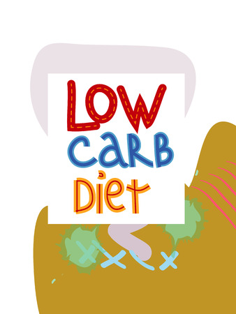Low carb diet collage lettering. Ketogenic eating slogan, phrase on memphis background. Healthy nutrition poster, banner design template Standard-Bild - 122783838