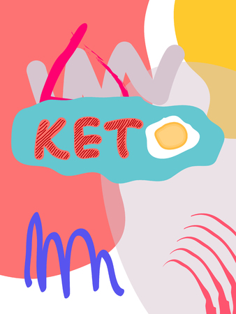 Keto fat collage lettering. Ketogenic eating slogan, phrase on memphis background. Healthy nutrition poster, banner design template
