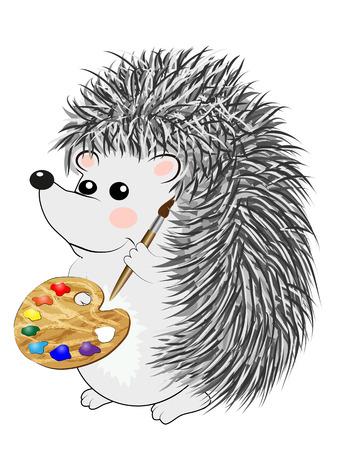 Cool little gray hedgehog in cartoon style wearing. cartoon emoticon pattern toy. Ilustrace