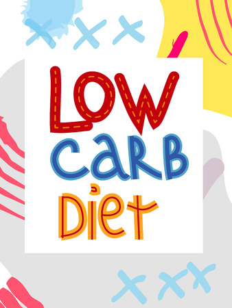 Low carb diet collage lettering. Ketogenic eating slogan, phrase on memphis background. Healthy nutrition poster, banner design template