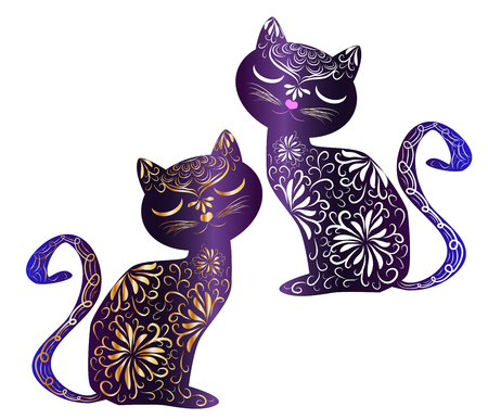 Elegant cat, silhouette, hand-painted in Indian style, print, design. The concept of grace, beauty of a cat, a unique pattern drawn by hand in Indian style