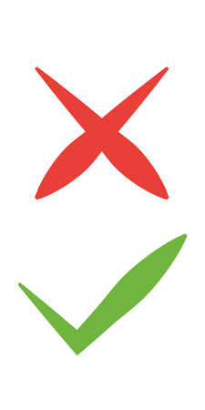 Tick and cross signs. Green checkmark OK and red X icons, isolated on white background. Simple marks graphic design. symbols YES and NO button for vote, decision