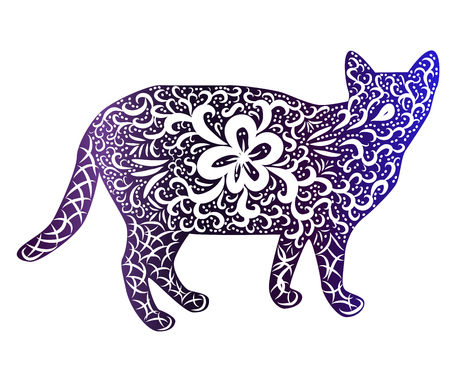 Elegant cat, silhouette, hand-painted in Indian style, print, design. The concept of grace, beauty of a cat, a unique pattern Vetores