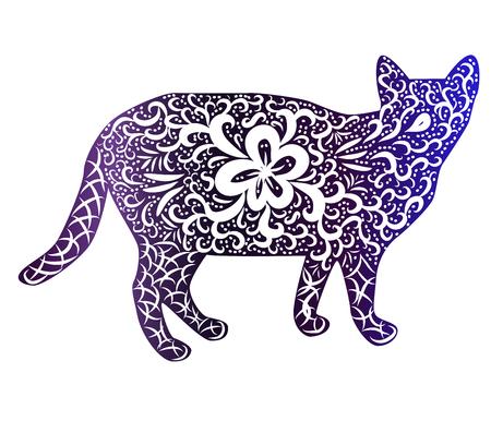 Gato elegante, silueta, pintado a mano en estilo indio, estampado, diseño. El concepto de gracia, la belleza de un gato, un patrón único. Ilustración de vector