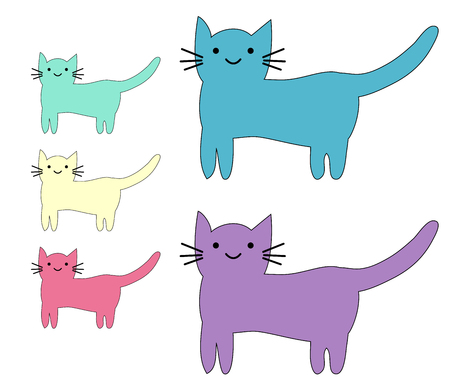 Set of cute cats in simple design for kid's greeting card design, t-shirt print, inspiration poster Illustration