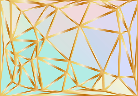 Holographic gradient triangle vector pattern. Rainbow sparkling polygonal background. Fantasy blue, pink, aqua and purple shiny golden poly texture.