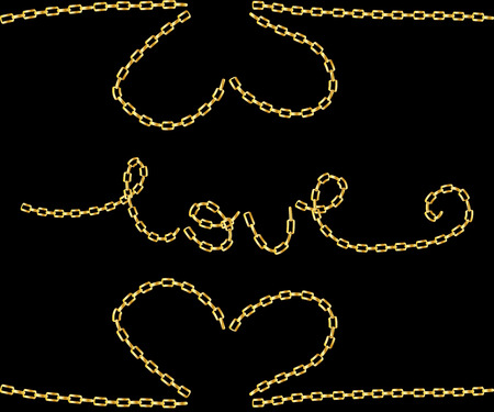 love slogan with golden chain Ilustração