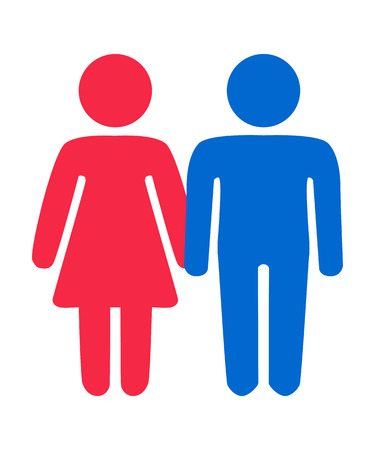 Couple in love. Heterosexual romantic date. Man and woman with heart shape above.
