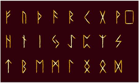 Set of Old Norse Scandinavian runes. Rune alphabet. Occult ancient symbols. Gold stamping, texture Çizim