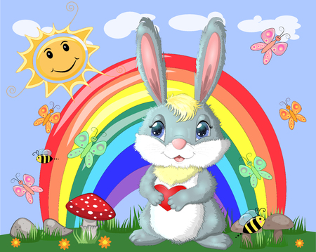 Bunny with a heart in a meadow near the rainbow. Spring, love, postcard Stock Photo