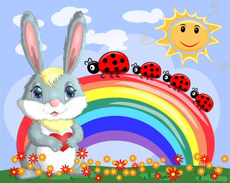 Bunny with a heart in a meadow near the rainbow. Spring, love, postcard 写真素材