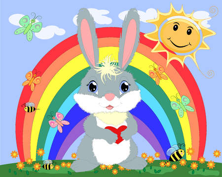 Bunny with a heart in a meadow near the rainbow. Spring, love, postcard Stockfoto