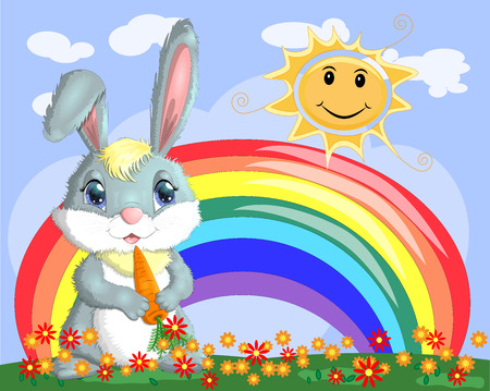Bunny with a carrot in the meadow near the rainbow. Spring, love, postcard