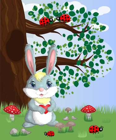 Bunny with a heart in a forest glade. Spring, love, postcard