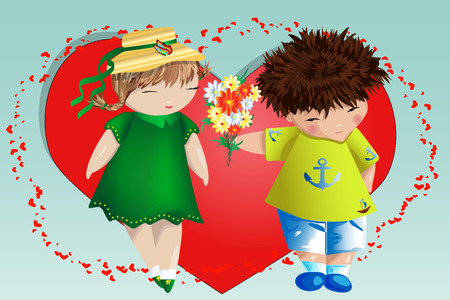 Happy valentines day. Love card. The boy gives the girl a bouquet on the background of the heart. Declaration of love, proposal to marry, concept