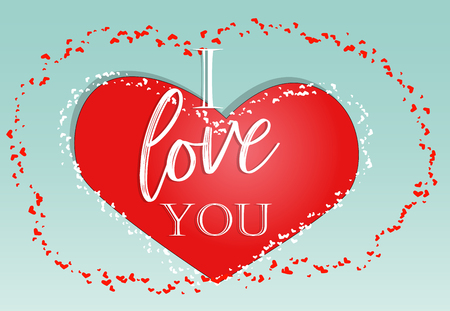Happy valentines day. Love card. inscription I love you on a red heart Stock Photo