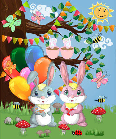 Two cute bunny with balls in a forest glade. Boy and girl, concept spring, love, postcard 写真素材
