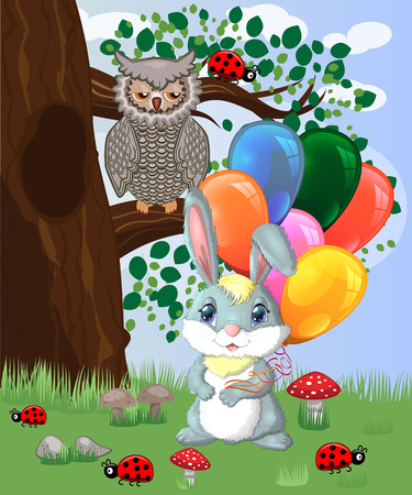 Cute cartoon bunny with an armful of balls in a forest glade. Spring, love, postcard