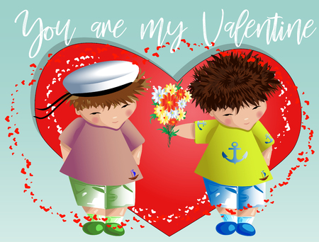 Happy valentines day. The boy gives the boy a bouquet on the background of the heart. Declaration of love, a proposal to marry, the concept of same-sex homosexual relations